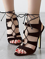 Women's Shoes Fleece Stiletto Heel Open Toe Sandals Party & Evening / Dress Black / Almond