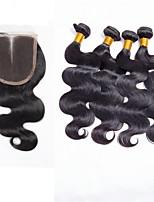 pelo virginal brasileño con cierre de cordón de la onda del cuerpo de cierre brasileño con el pelo haces de pelo virginal brasileño