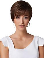 parrucca marrone naturale parrucca di modo europeo e americano dritto breve sintetico