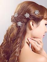 סיכת שיער כיסוי ראש נשים / נערת פרחים חתונה / אירוע מיוחד / קז'ואל / חוץ ריינסטון / סגסוגת חתונה / אירוע מיוחד / קז'ואל / חוץ 3 חלקים