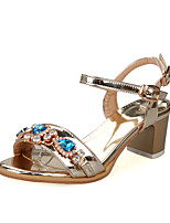 Women's Shoes Chunky Heel Open Toe Sandals Dress Purple / Silver / Gold