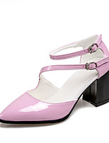 Women's Shoes Patent Leather Chunky Heel Heels / Pointed Toe Heels Dress Black / Pink / White