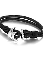 2016 Casual & Sporty Genuine Leather Anchor Stainless Steel Bracelets & Bangles Mens