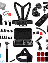 Chest Strap Head Mount Monopod Accessories Kit w/ Storage Case for GoPro Hero / Sj4000 - Black