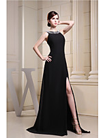 Formal Evening Dress-Black A-line Scoop Sweep/Brush Train Chiffon
