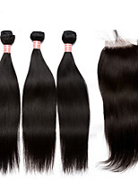 4pcs/lot Peruvian Virgin Hair With Closure Bundles Straight Weave Peruvian Virgin Hair Weft With Closure