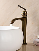 Deck Mounted Single Handle One Hole in Antique Brass Bathroom Sink Faucet