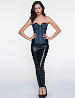 Women Sexy Denim Zipper Bustier Waist Cincher Corset,Lingerie Shaperwear Blue