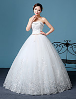 A-line Wedding Dress-White Floor-length Sweetheart Lace / Tulle
