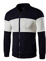 Men's Long Sleeve Jacket,Cotton Casual / Plus Sizes Color Block