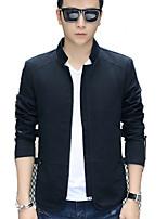 Men's Spring Autumn Korean Pure Stand Collar Slim Long Sleeve Jacket