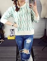 Damen Pullover - Einfach Kunst-Pelz Medium Langarm