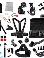 Chest Strap Head Mount Monopod Accessories Kit Case Bag for GoPro Hero / Sj4000 - Black