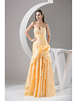 Formal Evening Dress Trumpet / Mermaid Sweetheart Floor-length Taffeta with Beading / Flower(s) / Side Draping