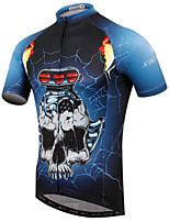 XINTOWN Mountain Bike Blue Skull Sportwear Pro Team Cycling Jerseys Short Sleeve Bicycle Jersey