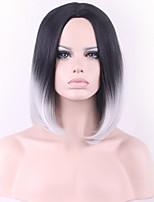 les dames européennes et américaines mode courte ligne droite cheveux noirs gris dégradé haute température perruque de soie