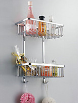 Contemporary Stainless Steel Chrome Wall Mounted Bathroom Shelf