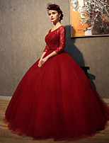 Formal Evening Dress-Burgundy Ball Gown Scoop Floor-length Lace / Tulle