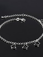 Women's Fashion Platinum Plated Love Heart Anklets