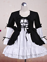 Steampunk® Cute Lace Up Black And White Cotton Gothic Lolita Dress