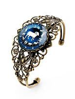 Lureme® Vintage Time Gem The Zodiac Series Aries Antique Bronze Hollow Flower Open Bangle Bracelet for Women