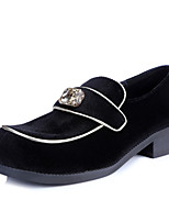 Women's Shoes Velvet Low Heel Square Toe Sheepskin inside / Closed Toe Loafers Office & Career / Casual Black