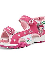 Girls' Shoes Outdoor / Casual Open Toe Faux Leather Sandals Pink / Silver / Mahogany