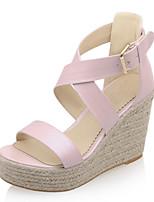Calçados Femininos-Sandálias-Anabela / Plataforma / Bico Aberto-Anabela-Azul / Rosa / Branco-Courino-Social