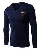 Men's Long Sleeve T-Shirt,Rayon Casual Solid / Patchwork
