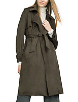 Women's Solid Green Coat,Simple Long Sleeve Polyester