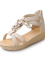 Women's Shoes Leatherette Flat Heel Round Toe Sandals Outdoor / Casual Blue / Pink / Beige
