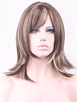European and American Fashion Wig Mixed Golden Brown Natural Straight Synthetic Wig Low Price Sale.