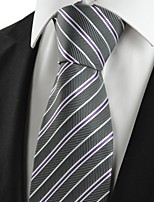 KissTies Men's White Purple Striped Grey Microfiber Tie Necktie For Wedding Holiday With Gift Box