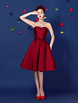 Cocktail Party Dress-Burgundy Ball Gown Strapless Knee-length Satin
