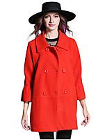 Women's Solid Blue / Orange Coat,Simple Long Sleeve Wool