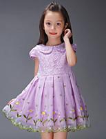 A-line Knee-length Flower Girl Dress-Chiffon / Lace / Stretch Satin Short Sleeve