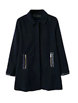 Women's Solid Black Coat,Simple Long Sleeve PU / Polyester