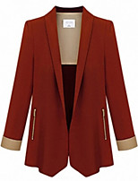 Women's Patchwork Blue / Red / Black Coat,Simple / Street chic Long Sleeve Polyester