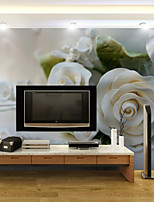 JAMMORY Art Deco Wallpaper Contemporary Wall Covering,Other White Roses 3D Stereoscopic Large Mural Wallpaper