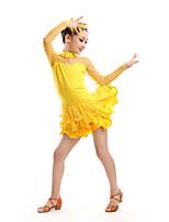Vestidos(Negro / Fucsia / Rojo / Amarillo,Poliéster / Tul,Danza Latina) -Danza Latina- paraNiños