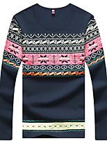 Men's Print Casual T-Shirt,Cotton / Spandex Long Sleeve-Black / Blue / White