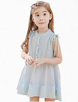 Mädchen Kleid-Baumwolle Sommer Blau / Weiß