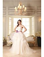 A-line Wedding Dress-Ivory Court Train Strapless Cotton / Organza