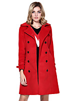 Women's Solid Red / Green Coat,Simple / Street chic Long Sleeve Wool