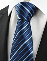 KissTies Men's Classic Striped Black Blue Microfiber Tie Necktie For Formal Business With Gift Box