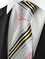 KissTies Men's Striped Golden Red Grey  Microfiber Tie Necktie For Wedding Party Holiday With Gift Box