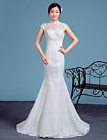 Trumpet/Mermaid Wedding Dress-White Court Train High Neck Lace / Tulle