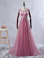 Formal Evening Dress-Blushing Pink Ball Gown V-neck Floor-length Satin / Tulle