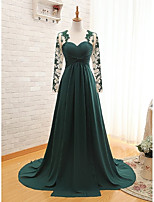Formal Evening Dress-Dark Green A-line Sweetheart Sweep/Brush Train Chiffon