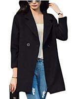 Women's Solid Black Coat,Simple Long Sleeve Wool